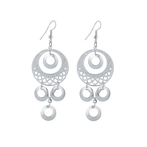 IDB Delicate Filigree Long Dangle Roung Shape Drop Hook Earrings - available in silver and gold tones (Silver tone) (Earrings Chandelier Filigree Tone Silver)