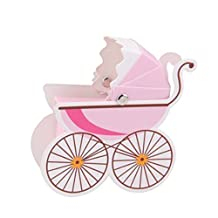 Tinksky Creative Baby Stroller Shaped Candy Box Cute Baby Gift Box 10pcs (Pink)