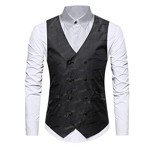 (Mens Gold Printed Double Breasted Silk Dress Suit Vests Formal Vest)