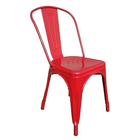 Set 6 Stühle Esszimmer Industriellen Stil Factory Metall Rot Cds09201:  Amazon.de: Küche