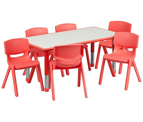 Flash Furniture 23.625''W x 47.25''L Rectangular Red Plastic Height Adjustable Activity Table Set with 6 Chairs (Childs Rectangular Table Classroom)