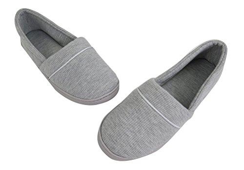 Vlly Dames Comfort Katoen Textiel Slippers Zachte Doek Anti-slip Huis Schoenen (fba) Grijs
