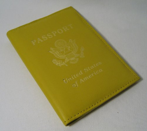 Genuine Yellow Leather Passport Cover Holder Wallet New, Bags Central