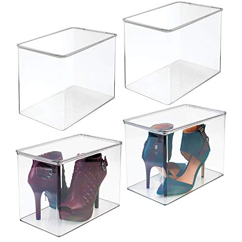mDesign Closet Storage Organizer Shoe Box, for High Heels, Tall Pumps, Boots - Pack of 4, Clear (Storage Container Shoe)