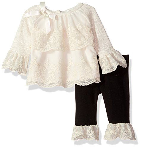 Rare Editions Baby Baby Girls Sweater Knit W. LACE Tier Front Legging Set, Ivory, 12M ()