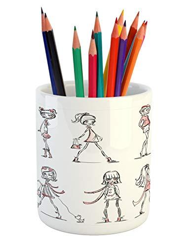 Ambesonne Fashion Pencil Pen Holder, Cartoon Girls with High
