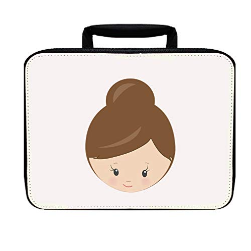 Paper Doll Brown One Bun Nylon Insulated Lunch Box Food Bag