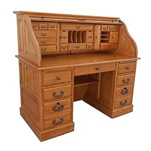 Roll Top Desk Solid Oak Wood - 54 inch Deluxe Executive Oak Desk Harvest Stain Home Office Secretary Organizer Roll…