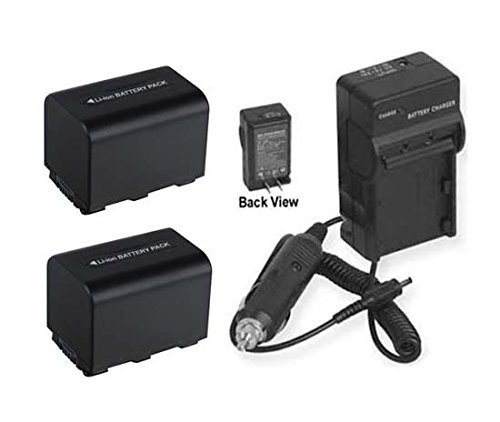 2 Batteries + Charger for Sony HDR-XR106, Sony HDR-XR200, Sony HDR-XR500, Sony HDR-XR520, Sony HXR-MC1