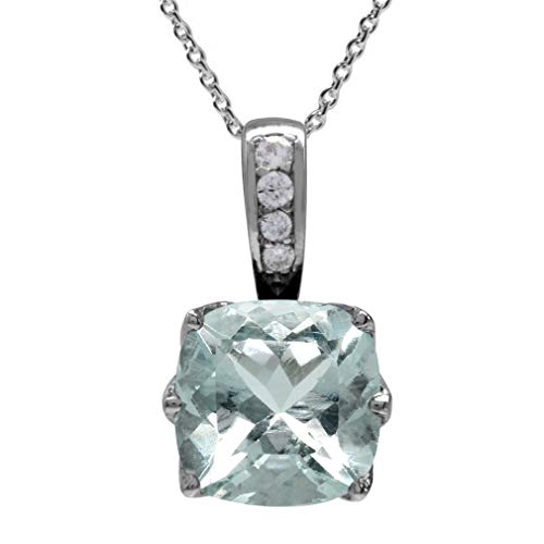2.03ct. 8MM Genuine Cushion Shape Blue Aquamarine 925 Sterling Silver Pendant w/18