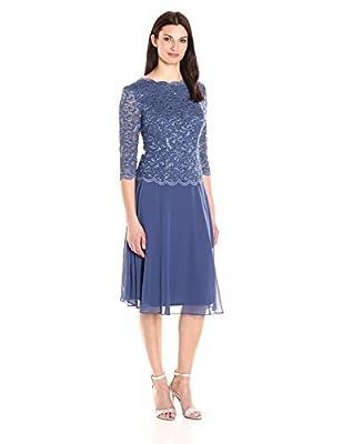 Alex Evenings Women's Sequin Lace Mock Dress (Petite and Regular), Wedgewood, 10