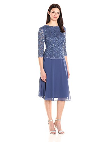 Alex Evenings Women's Sequin Lace Mock Dress (Petite and Regular), Short Wedgewood, 14 ()