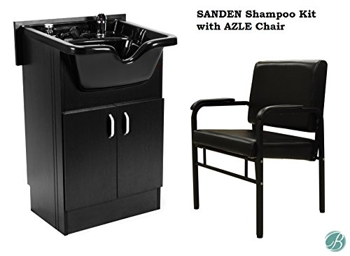 Set of SANDEN Shampoo Cabinet with Azle Shampoo Chair (Black), Faucet, Bowl, Drain for Beauty Salon and Spa from Berkeley