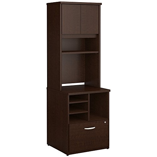 Bush Business Furniture Series C 24W Piler Filer Cabinet with Hutch in Mocha Cherry by Bush Business Furniture