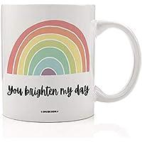 Cute Rainbow Mug You Brighten My Day Quote Valentine's Day Gifts for Kids Women Friend Girls Inspirational Galentine's Present Ladies Friendship Boyfriend Love 11oz Ceramic Coffee Cup Digibuddha