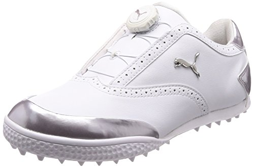 PUMA Japan Monolite Cat Disk BOA Golf Shoes, Women's, White-Silver, 24.0cm (US 7.5)