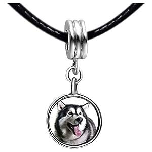 Chicforest Silver Plated Husky Dog Photo Light Amethyst Crystal June Birthstone Flower dangle Charm Beads Fit Pandora Chamilia Biagi Charm Bracelet