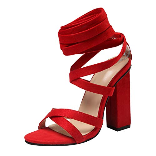 Powder Puff Earrings - OrchidAmor Summer Sexy Womens Cross Strap High Heels Wedding Party Prom Shoes Pumps Sandals 2019 Red