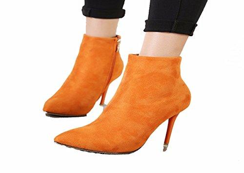 Gli Alti Stivali Tacchi Scarpe Da Parte da Donna Stivaletti black Di Corti Sexy 10Cm Scarpe donna Puntata Cerniera KPHY g84Pwq