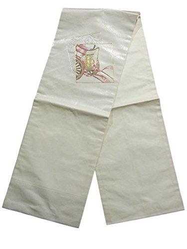 キャンベラ形成コンテストリサイクル 名古屋帯 重ね色紙に御所車や唐草模様 刺繍 正絹