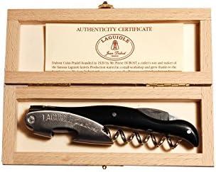 LAGUIOLE - Sacacorchos en Caja de Madera, Acero Inoxidable y plstico ABS, Color Negro y Plateado