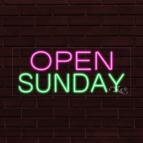 Open Sunday Flashing LED Flex Window Sign Includes Inline Remote Control 32x13x1 in