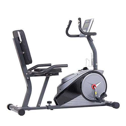 Body Champ Magnetic Recumbent Exercise Bike with Computer Program, Pulse and Resistance / Reclined Seat Back Support