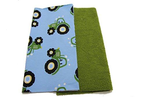 PINIDI DIY Nähset Kinderloop Traktor grün auf hellblau/ Fleece (Baumwoll- )olivgrün