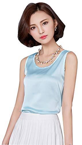 (ezShe Women's Round Neck Sleeveless Blouse Satin Shell Tops Lightblue S)