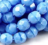 25 Firepolish Czech Faceted Round - Sky Blue Coral 6mm