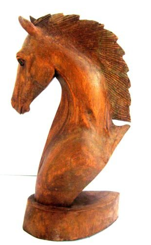 OMA Horse Statue Horse Head Wood Hand Carved Sculpture -COLLECTOR'S QUALITY, LG 12