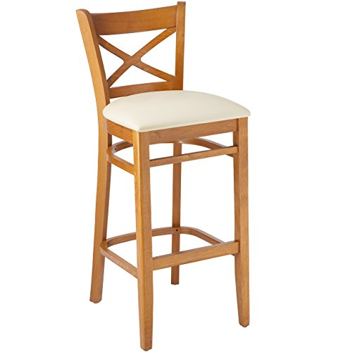 Beechwood Mountain BSD-106B-C-Cr Solid Beech Wood bar Stool in Cherry with Cream Upholstered Seat for Kitchen & (Beechwood Fully Upholstered Chairs)