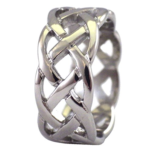 Fantasy Forge Jewelry Celtic Knot Ring Open Weave Wedding Band Stainless Steel 9mm Handfasting Size 10 (Open Knot Ring)