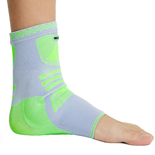 (Neotech Care Ankle Support (1 Unit) with Silicone Gel Pad Insert - Lightweight, Elastic & Breathable Knitted Fabric Compression Sleeve - Right or Left Foot, Men Women - Grey Color (Size M))