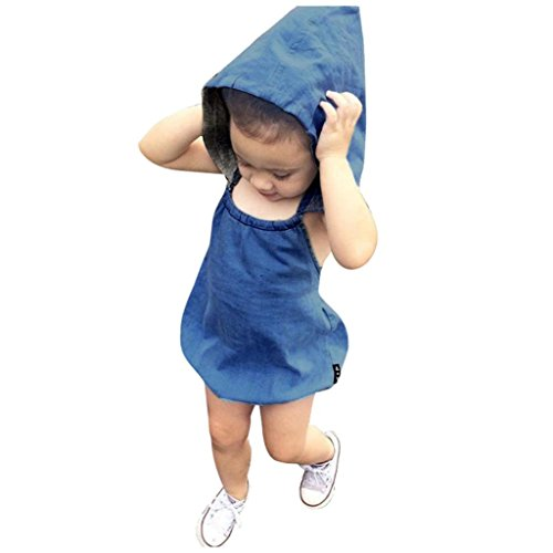 [LUNIWEI Baby Girls Boys Hooded Denim Briefs Romper] (Denim Romper Costume)