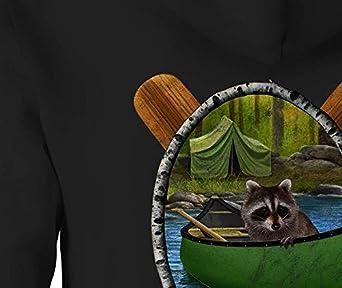 Zip Up Hoodie Raccoon Canoe Hooded Sweatshirt for Men