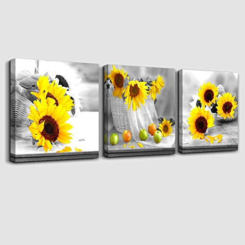 Canvas Wall Art for Bedroom Simple Life Black and White Yellow Sunflower Artwork Wall Decor 12