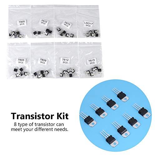 トランジスタキット、40個8タイプ7805 7809 7812 7815 7905 7912 7915 LM317 to-220トランジスタ品揃えキットセットhd変調器トランジスタ