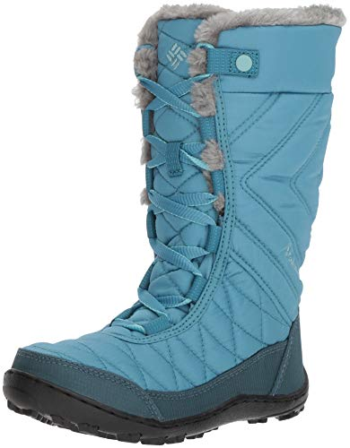Columbia Girls' Youth Minx MID III Waterproof Omni-Heat Snow Boot, Canyon Blue, Iceberg, 1 Regular US Little Kid