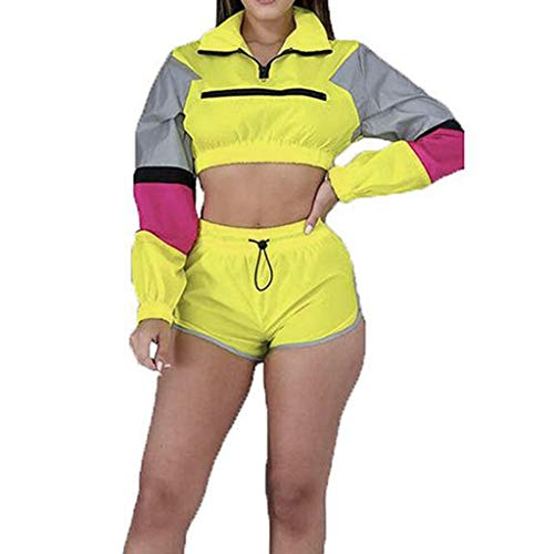 Fahsion Women Casual Two Piece Outfits Zip Up Patchwork Half Sleeve Jacket Top Shorts Pants Sets (Yellow, L)