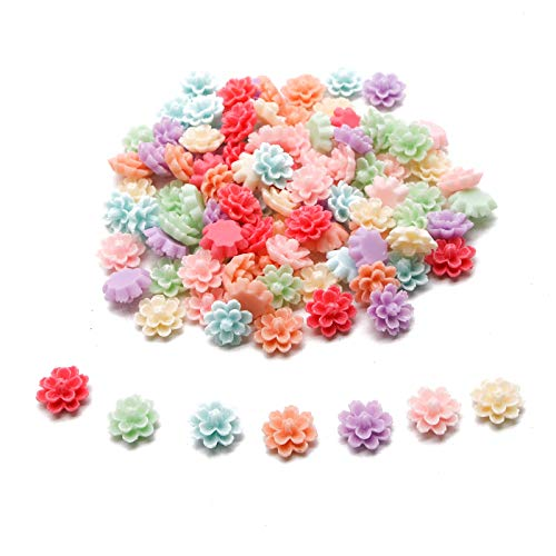 Charm Resin Jewelry (WSSROGY 100 Pcs Colorful Resin Flat Back Flowers Charm for Jewelry Making Accessory for DIY Necklace Bracelet Earrings)