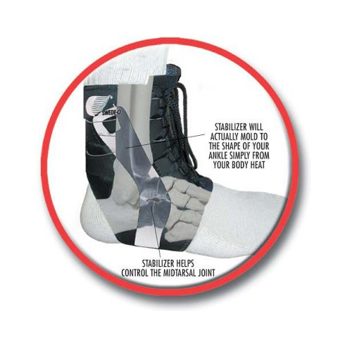 Swede-O 22813R Tarsal Lok Ankle Brace, Built-in Stabilizer, Retail Packaging, Medium, Black