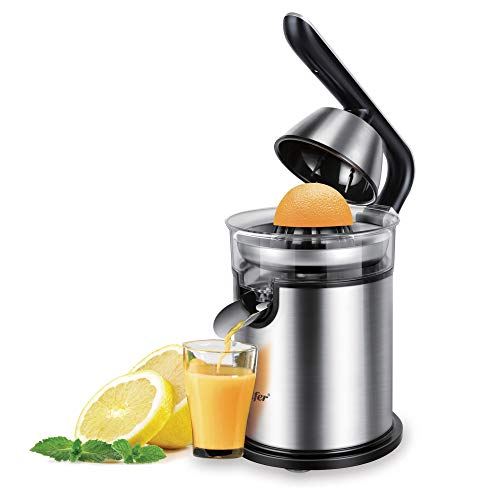 NNDQ Stainless Steel 300 Watts Electric Orange Juicer Squeezer, Hands-Free Electric Citrus Juicer, Easy Use, Ultra Quiet Motor and Anti-Drip Spout