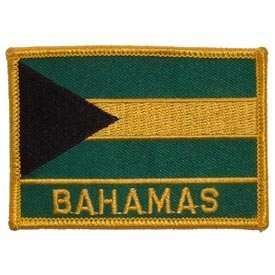 International World Countries Rectangle Flag Iron On Patch - Bahamas Applique (Bahamas Flag Country)