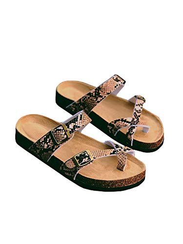 - Ermonn Womens Thong Flat Sandals Gladiator Buckle Strappy Cork Sole Summer Slides
