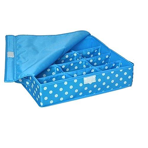 Collocation-Online Drawer Storage Box Fold Slot Cell Underwear Ties Sock Box Case Storage Organizer,24 Girds,Blue