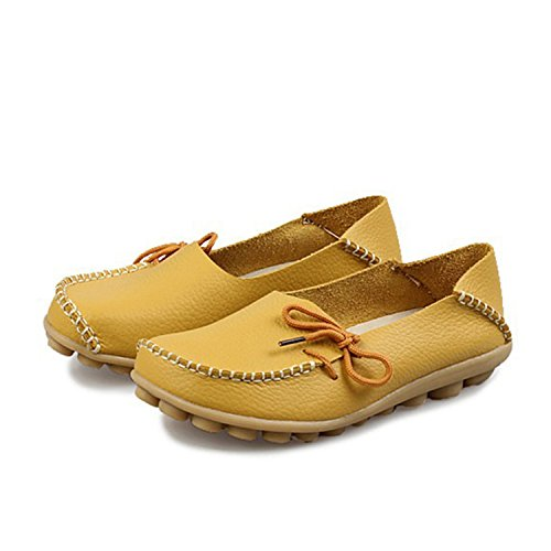 Size Women Flats Shoes Casual Coffee Large Shoes Comfortable Shoes Leather Fashion Breathable Girls up Mother Beststore VAO SDC179 Flats Women Lace qEBOTU