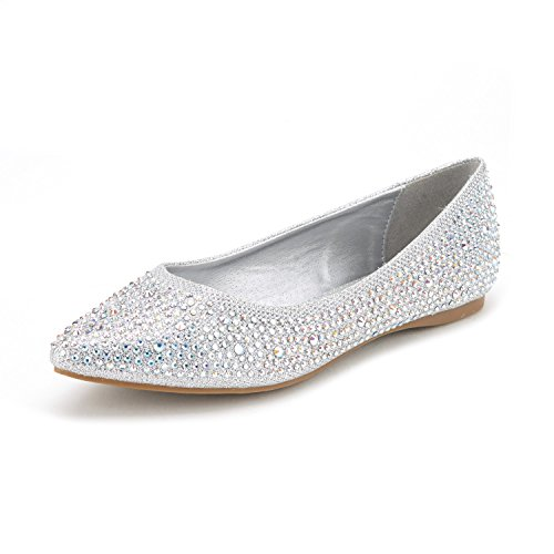 DREAM PAIRS Sole Fancy Women's Casual Pointed Toe Ballet Comfort Soft Slip On Flats Shoes Silver Size - Fancy Shoes Lady Flat