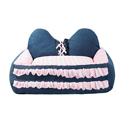 Denim color M Denim color M ZHAO ZHANQIANG Kennel, pet mat, small, medium-sized dog, large dog supplies, bed dog house, four seasons universal (color   Denim color, Size   M)
