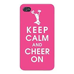 Apple Iphone Custom Case 4 4s White Plastic Snap on - Keep Calm and Cheer On w/ Cheerleader by icecream design